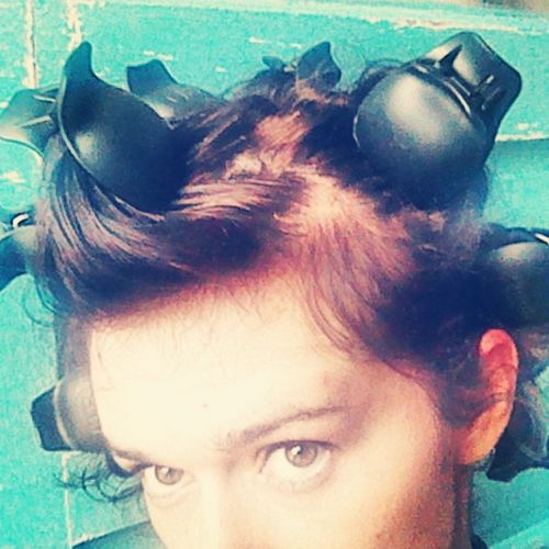 I love the way carefully set hair looks, before the curlers are even removed! Cute retro chic pink foam rollers these ain't though! Pincurls Topstyler Instyler Hotrollers Curls Advancedstyling Hair