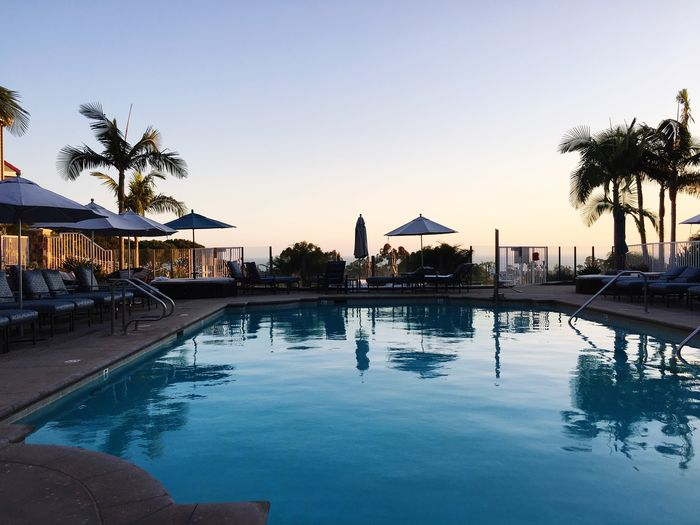 Swimming Pool Palm Tree Water Tourist Resort Vacations Tree Tranquility Sunset Luxury Hotel Outdoors Sea Clear Sky Beach Beauty In Nature Swimming Sky No People Day Nature Laguna Beach