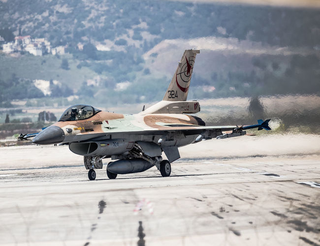Airplane Aviation Blue Sky Day F-16 Fighter Plane Fighting Falcon Flight General Dynamics IAF Israeli Air Force Military Military Airplane Outdoors Runway Taxiing