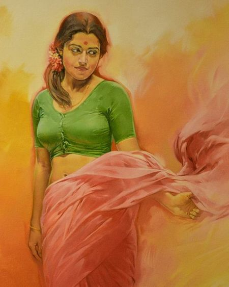 I saw this painting at MG Road. And was awe struck. Such a beautiful painting. Painting Phodus_competition Random Vscocam VSCO Nikonindiaofficial Nikon Ig_captures Ig_bangalore Ig_worldclub Mgroad Indianwomen Matteo  Bangalore Painting Women Indian Indianbeauty Saree Sensual Art Artist Ig_paints Ig_sensual_art Beautifulwomen 👌👌👌👌