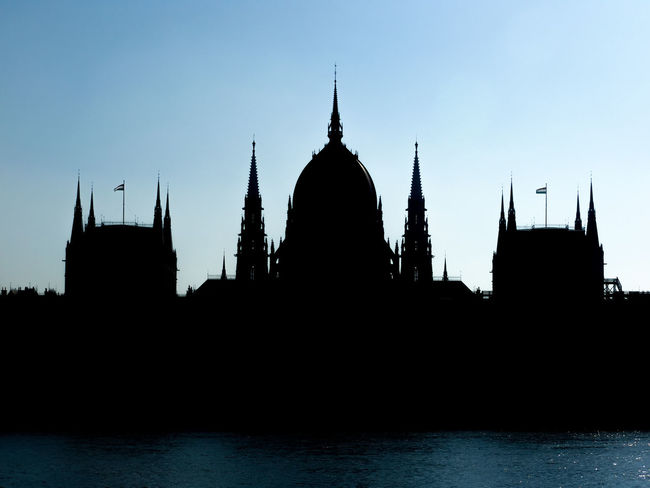 The House of Parliament - Budapest, Hungary Architecture Backlight Black Blue Budapest Building Danube Eclectic Flag Government Heritage Historic Hungary Landmark Neogothic No People Nobody Outdoor Parliament Politics Silhouette Urban Water Unesco World Heritage