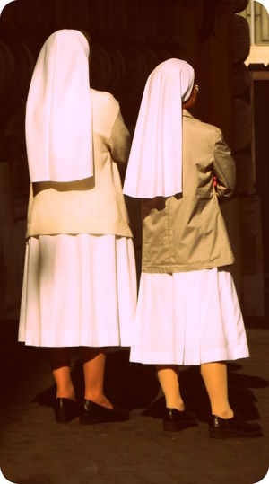Backside Duo Watching Out Fun Nuns Italian Nun Street Sunlight And Shadow Two Nuns White
