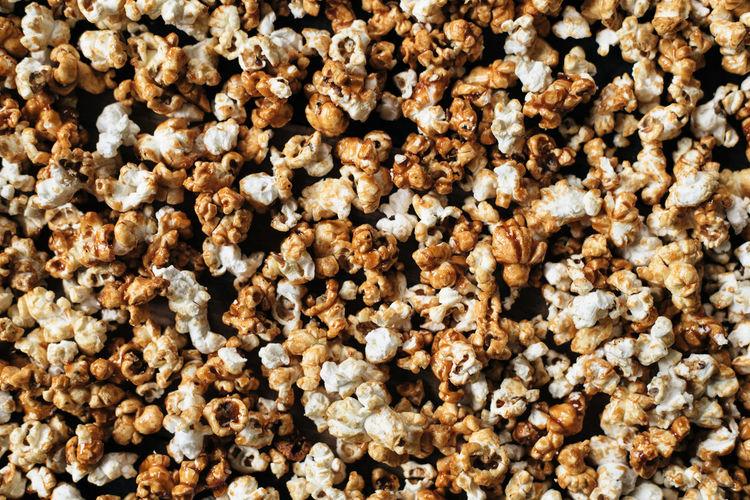 Full frame shot of popcorn on table