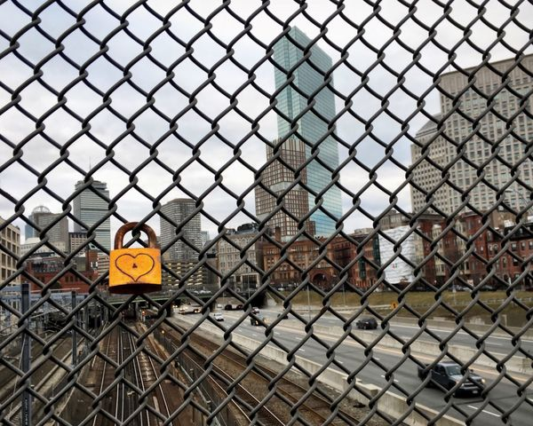 Chainlink Fence Protection Safety Fence Security Metal Lock Locked Love City Urban Boston Massachusetts Outdoors No People Day Sky Close-up Locket Locket_of_love Neighborhood Map