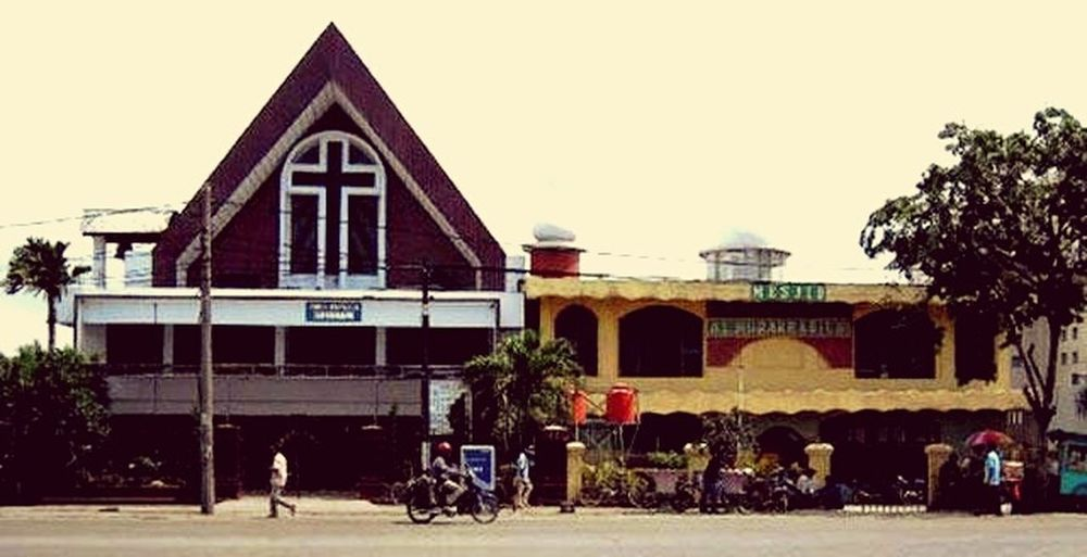 a church and mosque at my country. So Peaceful at North Jakarta, INDONESIA