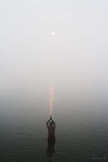 Water Fantasy Fog Motion Floating On Water Nature Sea No People Sky Outdoors Day India Varanasi