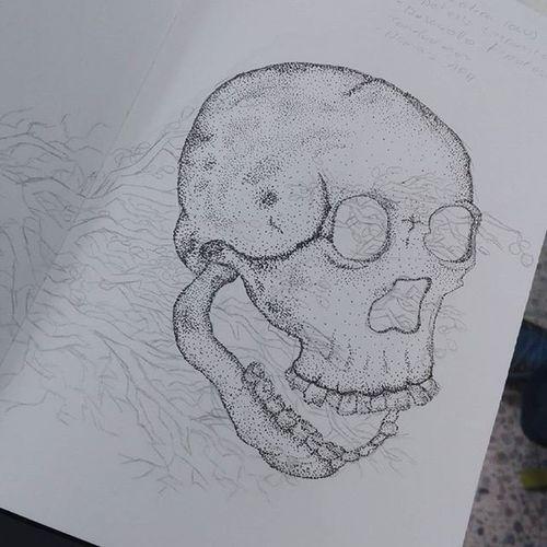 Bitácoras Sketchbook Sketch Illustration Colombianart Photography Art Skull Pointillism