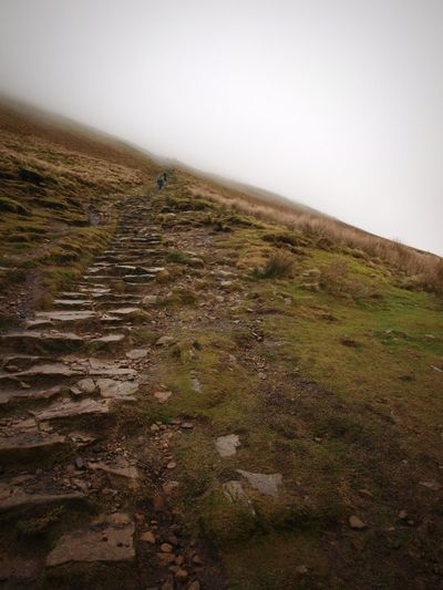 climbing up to the clouds Cloud Walking Hill Hiking Stone Steps Stone Stairs Pendle Hill Landscape Beauty In Nature Outdoors Scenics Mountain Grass Day Fog Nature Tranquility