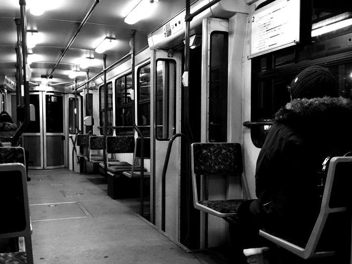 Old Tram Passenger Taking Photos Empty Waiting Seats Vintage