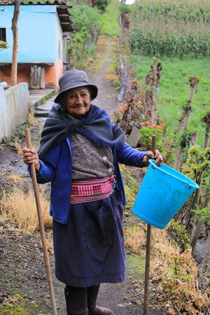 AllYouNeedIsEcuador Alone Blue Bucket Composition Container Countryside Day Ecuador Front View Happiness Indigenous  Occupation Old Old Lady One Person People People Photography People Watching Peoplephotography Perspective Single Object Still Life Woman Woman Portrait