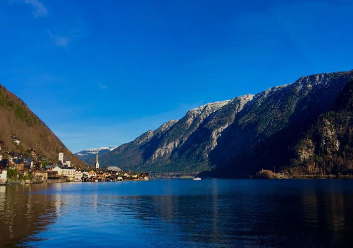 Hallstatt, Austria 💙 Landscape_photography Blue Sky Water Reflection Lake View