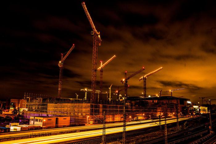 Construction Site Cranes Night Lights Nightphotography Building Site Night Railway Track Train Warschauerbrücke