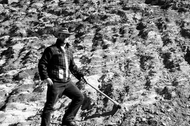 Prospector with a Pickaxe Geologist Gold B&w Mining One Person Open Pit Mine Pickaxe Prospector Real People