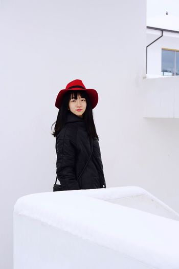Portrait Of A Woman Portrait One Person Hat Winter Red Warm Clothing Looking At Camera Leisure Activity Cold Temperature Standing Lifestyles Snow