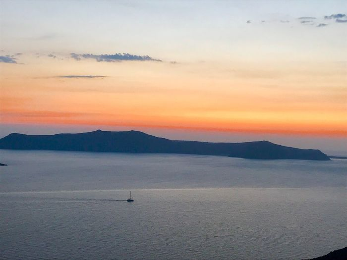 Santorini Caldera Sunset Caldera Santorini Greece Scenics Beauty In Nature Tranquil Scene Mountain Sunset Nature Tranquility Sky Nautical Vessel