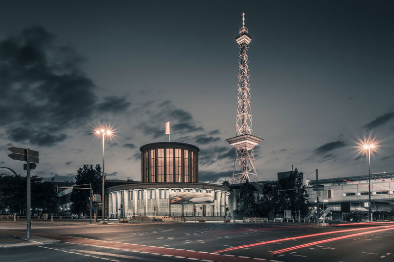 Funkturm, also a famous TV Tower like the one in the eastern part of Berlin :-) Berlin City West Cityscape Night Lights Nightphotography Architecture Building Exterior Built Structure City Communication Decent Shots Germany Illuminated Long Exposure Motion Night No People Outdoors Road Sky Speed Street Light Transportation Travel Travel Destinations