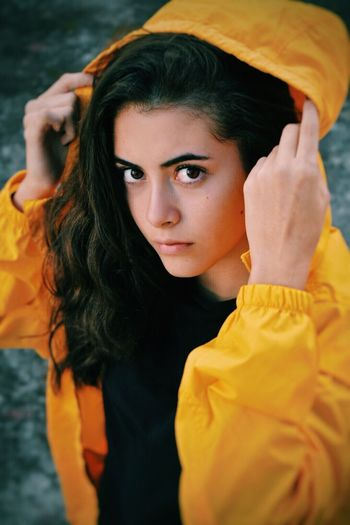 Paint The Town Yellow Yellow One Person Real People Waist Up Lifestyles Young Adult Leisure Activity Young Women Outdoors Childhood Day Portrait Looking At Camera Beautiful Woman Close-up People Nikon