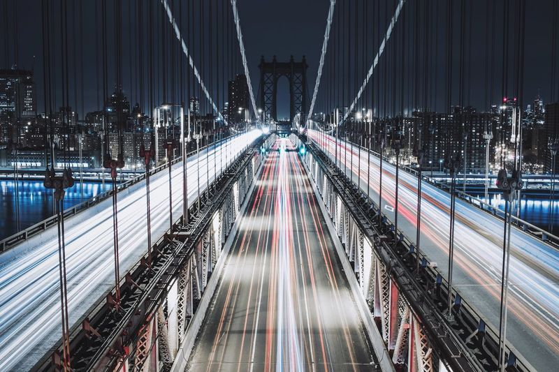 Light Trails On Elevated Roads