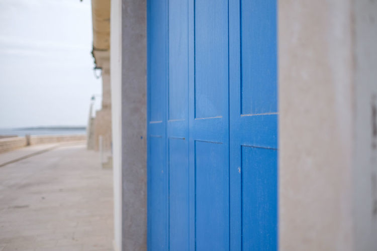 Closed Blue Door Of House