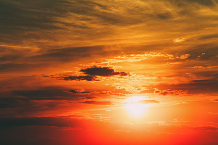 Sun in warm sky, sunset, sunrise. Beautiful Beauty Bright Cloud Cloudscape Color Colorful Evening Landscape Light Morning Nature Orange Red Romantic Season  Sky Spring Summer Sun Sunbeams Sunrise Sunset Tropical View Weather Yellow