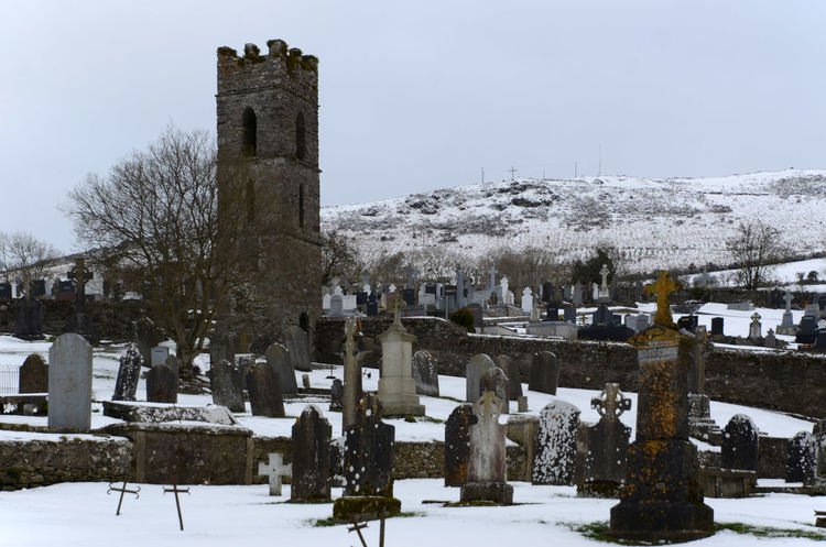 Architecture Cemetery Cold Temperature Day Gravestone Graveyard Hill Memorial Outdoors Snow Tombstone Watch Tower Winter