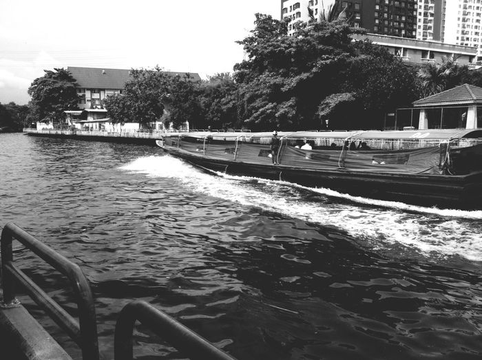 Boats River Thailand Black And White