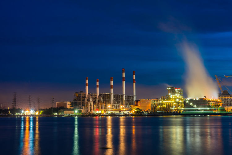 power plant colorful Water Factory Illuminated Power Station Oil Industry Industry City Gas Fuel And Power Generation Business Finance And Industry Oil Refinery