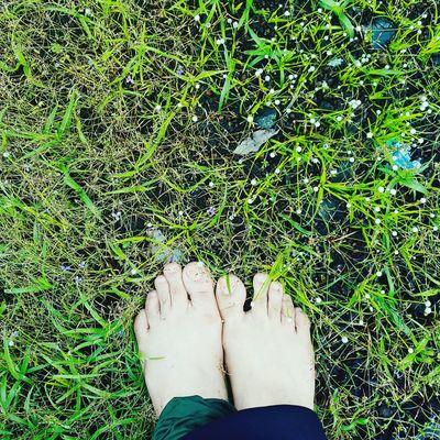 Human Leg Grass One Person Standing Human Foot Outdoors Women Green Color Human Body Part