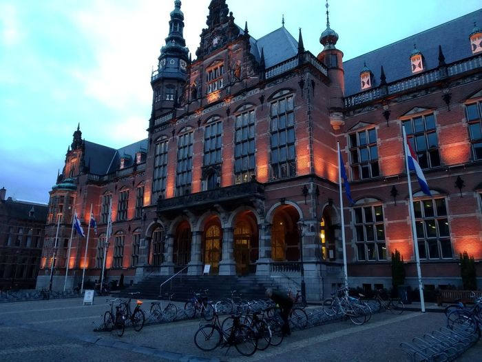 University of Groningen University Campus City Bicycle Sky Architecture Building Exterior Built Structure Historic Gothic Style Bicycle Rack Parking
