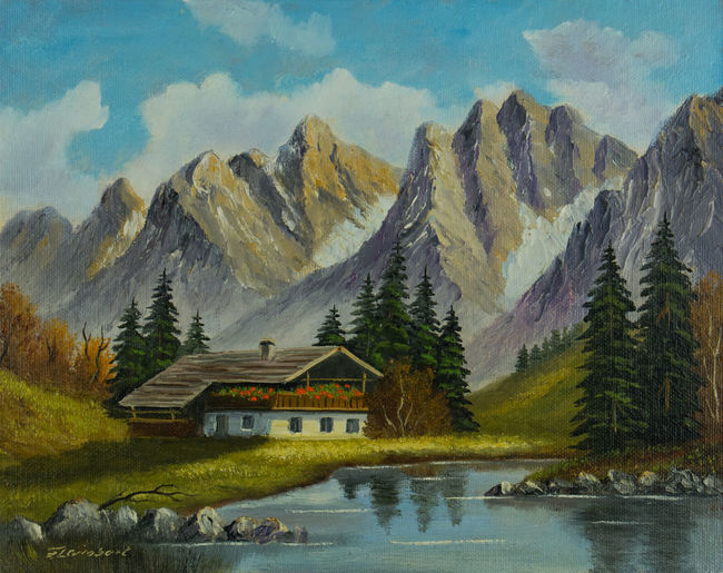 Oil painting - mountain landscape with a house at a mountain stream Canvas River View Trees Art Beauty In Nature Building Building Exterior Built Structure Cloud - Sky Day House Landscape Mountain Mountain Peak Mountain Range Mountain River And Sky Nature No People Oil Painting Scenics - Nature Sky Stones And Pebbles Stream Tranquil Scene Water