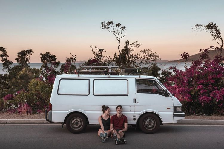 Larry the van Van Life Van Road Roadtrip Couple Love Plant Mode Of Transportation Tree Transportation Sky Motor Vehicle Nature Land Vehicle Car Clear Sky Men Togetherness Two People Women Adult People Real People It's About The Journey 2018 In One Photograph