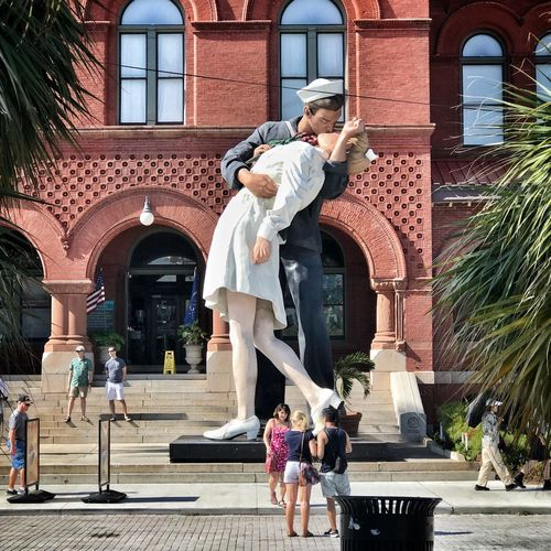 the war is over - kiss Kiss Nurse Sailer Day Togetherness Sculpture Outdoors Real People