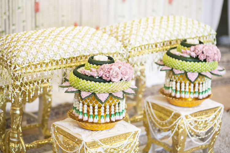 Thai Wedding Ceremony Love ♥ Traditional Wedding Flower Decoration Decor Sweet Sweet Food Cake Food And Drink Dessert Food Indulgence Freshness No People Baked Table Temptation Unhealthy Eating Variation Choice Focus On Foreground Close-up Indoors  Cupcake Wedding Cake