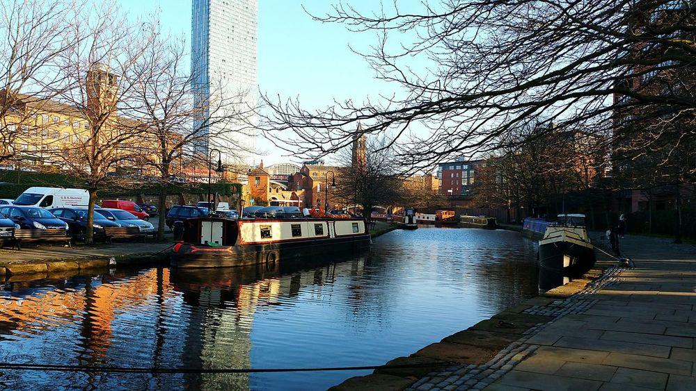 Manchester Canal Castlefield Water Scenic View Urban Landscape Blue Sky Femalephotographerofthemonth