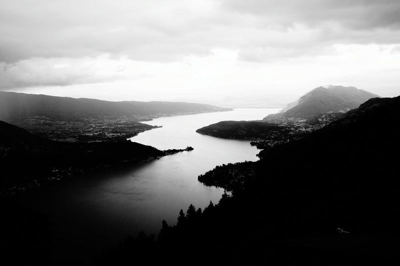 High angle view of d'annecy lake