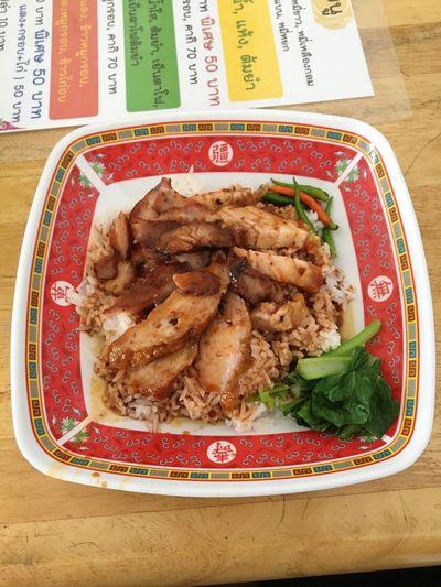 ข้าวหมูแดง Rice With Roasted Red Pork Rice EyeEm Selects Food Food And Drink Meat Indoors  No People