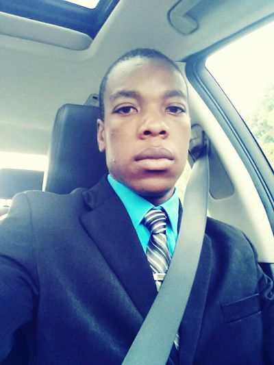 Selfies Self Portrait man in car dress up Business Attire Church Suit