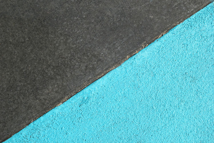Blue and gray textured surface of asphalt for abstract background, top view. Asphalt Bright Copy Space Diagonal LINE Textured  Abstract Art Background Blue Colorful Contrast Flat Lay Geometry Gray Half Minimalism Pattern Simple Sky Stone Street Surface Triangle White Color