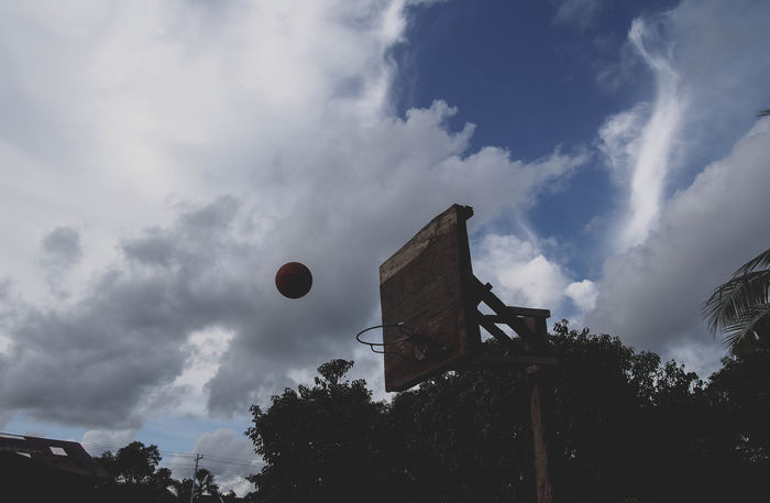 Ball Is Life Basketball Built Structure Cloud Cloudy Hoop Low Angle View No People Outdoors Sky