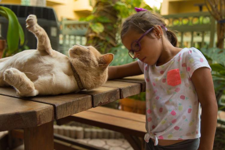 Animal Themes Child Child And Pet Childhood Cute Domestic Animals Girls Kid Mammal Pets