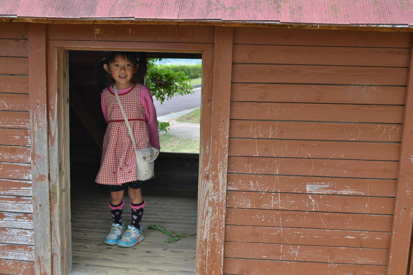 One Girl Only One Person Children Only Child Girls Door Standing Childhood People Doorway Outdoors Portrait Full Length Looking At Camera Real People Day Adult