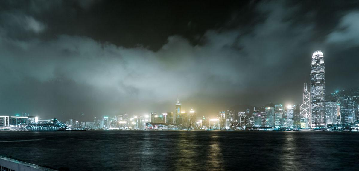 HongKong Nightscape Building Exterior Cityscape Clouds HongKong International Landmark Nightphotography Sea Sky