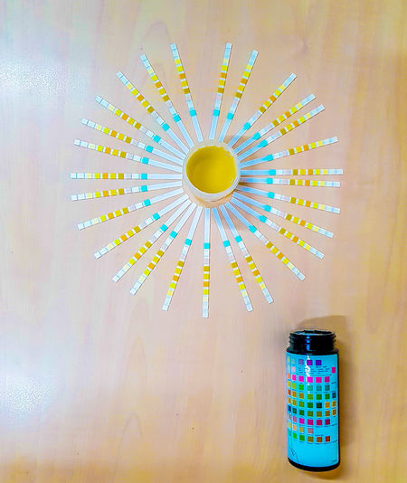 diabetic urine examination Architecture Built Structure Circle Close-up Container Decoration Dip Stick, Geometric Shape Hanging Illuminated Indoors  Laboratory Lighting Equipment Multi Colored No People Shape Still Life Table Technology Urine Sample, Wall - Building Feature Yellow