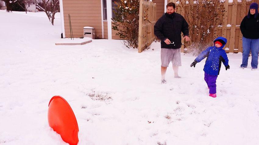 Practising snowball throwing Snowballs