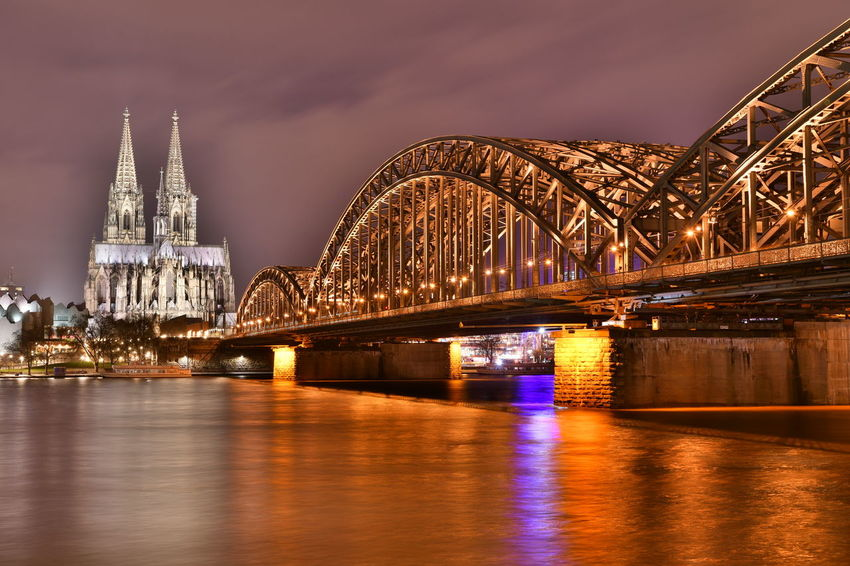 Cathedral Cologne Cologne , Köln,  Deutschland Köln Kölner Dom Kölner Dom Cathedral Architecture Bridge - Man Made Structure Built Structure Bulb Bulbphotography Bulbs Cityscape Connection Germany Hohenzollernbridge Hohenzollernbrücke Illuminated Langzeitaufnahme Langzeitbelichtung Night No People River Water