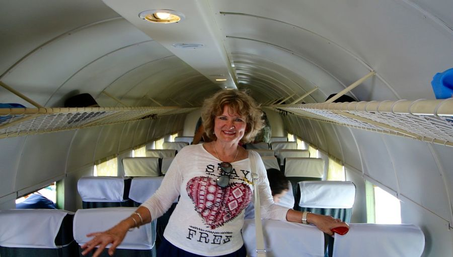 Here I am, visiting the past...There was a time when I made part of aviation, like a stewardess, not in this one... :-) Airplane Casual Clothing DC 3 Passanger Cabin Leisure Activity Lifestyles Me Person Posing Woman