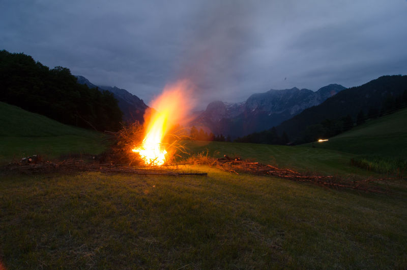 Burning Field Fire Mountains Sonnwendfeuer Tradition