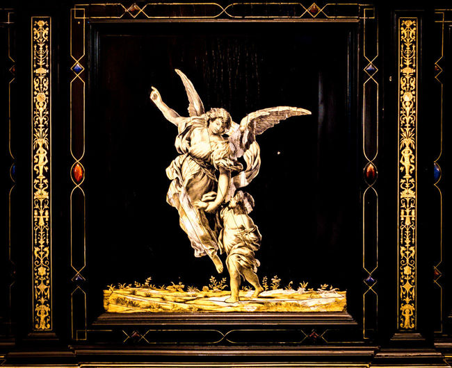 Art And Craft Sculpture Representation Creativity Architecture Statue Built Structure Craft No People Religion Human Representation Building Belief Spirituality Illuminated Place Of Worship Male Likeness Night Angel Ornate