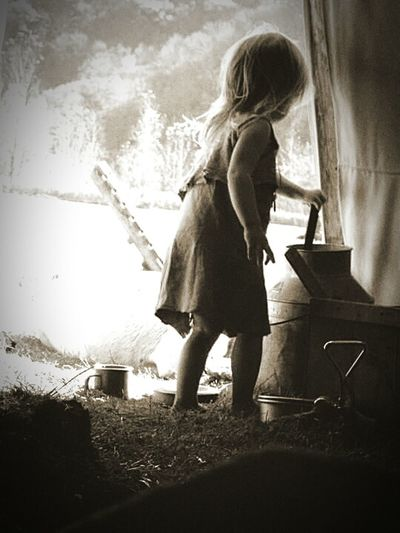 Outdoors Child Tipi Get A Drink Buckskin Pre-1840s Rendezvous TLPhoto Black & White Old-fashioned 1840 Leather Dress Girl Camping B&w Black And White