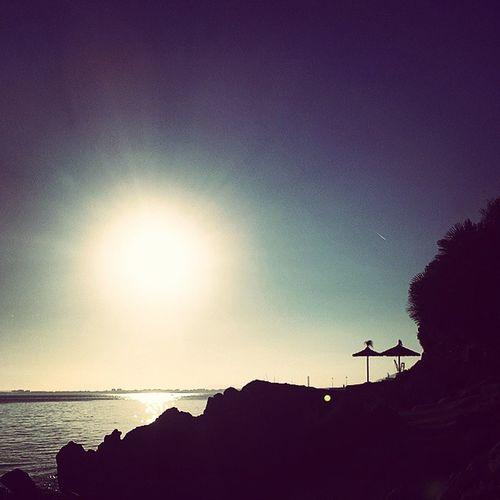Sunsets Contraluz Sol Enelmar Azul Sombrilla Piedras Sun Backlighting Onsea Blue Umbrela Rocks Mallorca